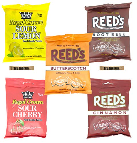 Reed's and Regal Crown Sampler Pack - Cinnamon, Butterscotch, Root Beer, Sour Cherry & Lemon (Pack of 5) with Tru Inertia Sugar
