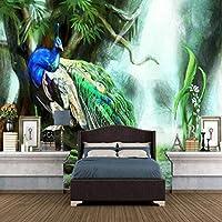 mzznz カスタム3D手描き緑孔雀背景壁紙壁画-280X200Cm
