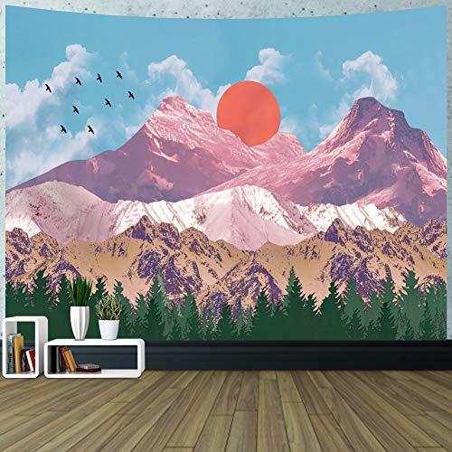 GUIFIER Wandbehang Wandteppich, Landschaft Wandteppich & Tagesdecke Alpine Lake Sky für Schlafzimmer Wohnzimmer Wohnheim (Lake Sky )