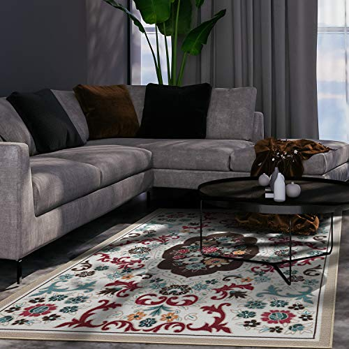 "Antep Rugs Alfombras Non-Skid (Non-Slip) 8x10 Rubber Backing Modern Floral Low Profile Pile Indoor Area Rugs (Beige, 8' x 10'3"")"