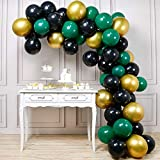 PartyWoo Black Gold and Green Balloons, 60 Pcs 12 Inch Green Balloons, Black Balloons and Gold Balloons, Green Gold Black Balloons for Black Party Decorations, Green Birthday Decorations