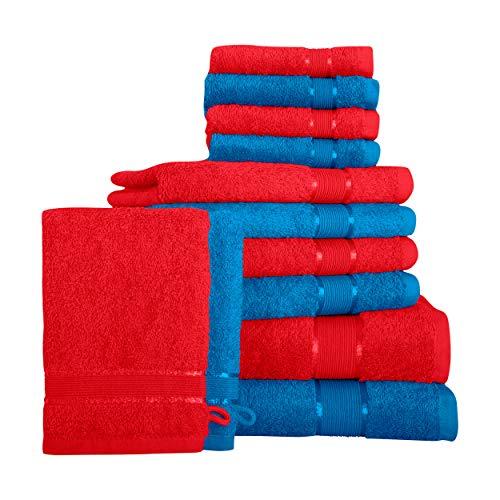 Mixibaby 12 TLG. Juego de toallas de ducha, toalla de mano, toalla de invitados, manopla roja con combinación de colores