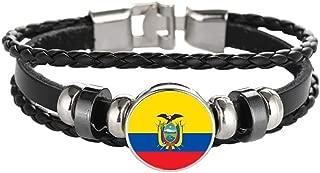 Wedare Souvenir Bandera de Ecuador Pulsera Trenzada Cadena de Cuero Pulsera de Cristal Recuerdo, Pulsera Hecha a Mano de Moda para Hombre y Mujer día
