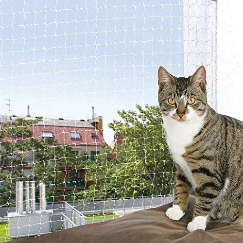 YOAI katzennetz für Balkon und Fenster Transparent Katzengitter Balkon Katzenschutznetz Schutznetz Balkonnetz ohne bohren für Katzen zur Absicherung von Balkon, Terrasse, Fenster und Türen (3x4m)