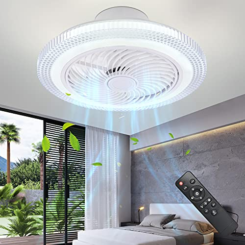 IYUNXI Enclosed Ceiling Fan with Remote 72W Low Profile Ceiling Fans...