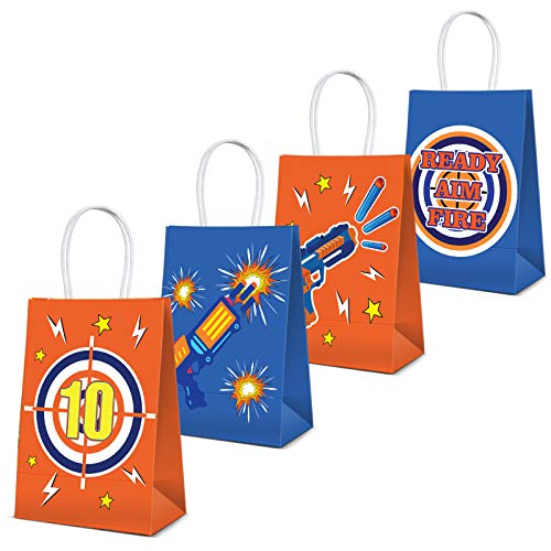 Cracoo Dart War Party Supplies Bags Toy Birthday Wars Party Goody Treat Bags for Cutouts Blaster Gun Party Supplies Dart Battle Decor 16 Pack
