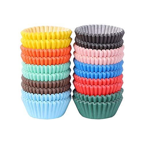 Miss Bakery's House® Mini-Muffinförmchen Standard - Ø 32 mm x 20 mm - Bunt - 500 Stück - Papier-Backförmchen - Cupcakes, Muffins und Pralinen
