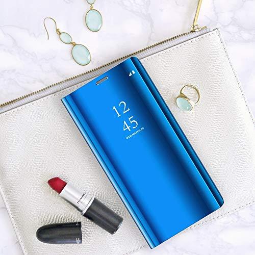ompatibel mit Huawei Honor 10 Hülle, Handy Schutzhülle für Huawei Honor 10 Spiegel Hülle Flip Folio Case [Standfunktion] Dünn Clear View PC Plastik Anti-Scratch Hard Cover (Blau, Huawei Honor 10) - 6