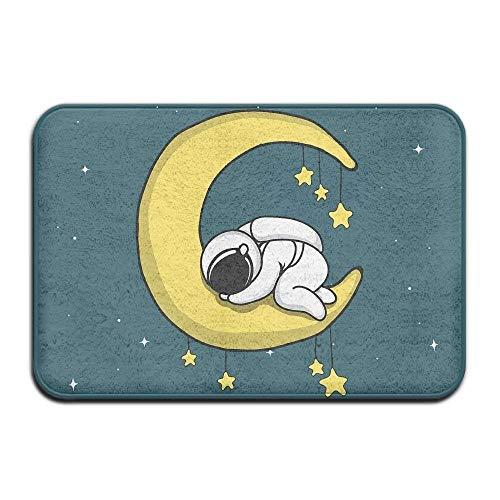 Doormat Astronaut Sleeps on Crescent Moon Indoor Outdoor Doormats Super Absorbs Mud Dirt Easy Clean Cute Cat Floor Rug Tapis de Portes 15.7\
