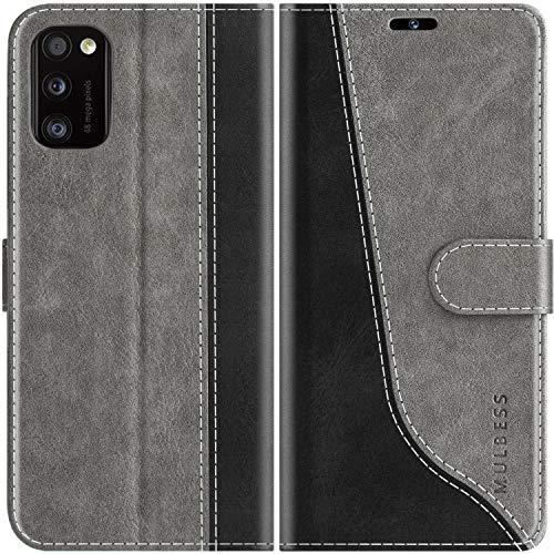 Mulbess Funda para Samsung Galaxy A41, Funda con Tapa Samsung Galaxy A41, Funda Samsung Galaxy A41 Libro, Funda Cartera para Samsung Galaxy A41 Carcasa, Gris