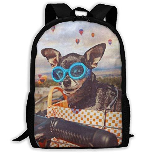 TTmom Zaini/Zaino Casual,Borse a Zainetto, Backpack for Adults Cute Chihuahua Dog in Bike Basket Shoulders Bag