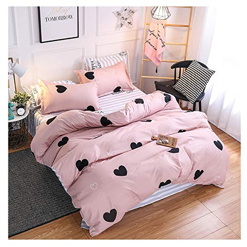 ORIHOME Full Bed Sheets Love Heart Print 3 Piece Bedding Sets One Duvet Cover Without Comforter Two Pillowcase– Soft Microfiber Teen Bedding for Kids Bed Sheet Set (Love Heart,Pink, Full,80''x86'')