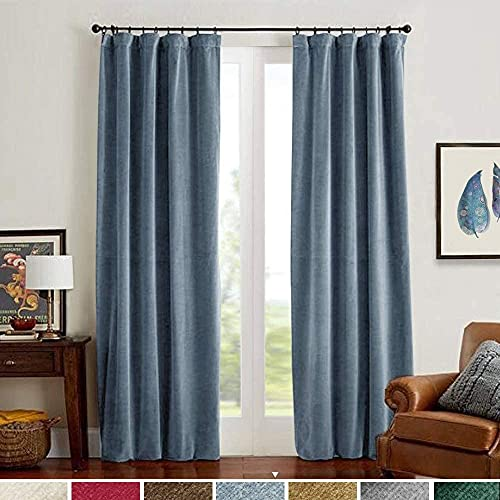 Lazzzy Blackout Velvet Curtains Blue 84 inch Thermal Insulated Drapes for Dinning Room Darkening Window Treatment Rod Pocket Home Decor Living Room Set of 2 Panels Dark Slate