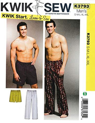 Kwik Sew K3793 Sleep Pants and Shorts Sewing Pattern, Size S-M-L-XL-XXL
