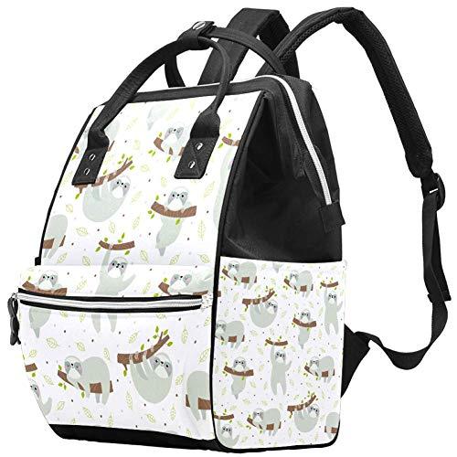 Carino disegnato a mano bradipi multifunzione borsa per pannolini per la cura del bambino ampia apertura pannolino borse borse zaino da viaggio