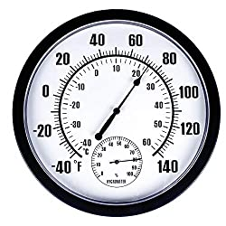 MUMTOP Thermometer Indoor Outdoor 10 Patio Large Wall Thermometer and Hygrometer,No Battery is Required to Let You to See The Temperature and Humidity of The Day from a Distance