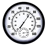 MUMTOP Thermometer Indoor Outdoor 10' Patio Large Wall Thermometer and Hygrometer,No Battery is Required to Let You to See The Temperature and Humidity of The Day from a Distance