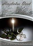 Trauer Danksagungskarten Trauerkarten ohne Innentext Motiv Kerze weiße Rose 10