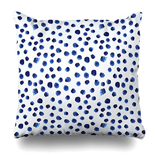 Decorative Pillows Case Throw Pillows Covers for Couch Indoor Bed 16 x 16 Inch,Navy Paint Blue Watercolor Polka Dot Watercolour Brushstroke Sofa Cushion Cover Pillowcase Bed Car Living Home