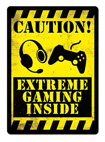 Lorenzo Caution:Extreme Gaming Inside Vintage Metal Vintage Metallblechschild Wand Eisen Malerei Plaque Poster Warnschild Cafe Bar Pub Bier Club Dekoration