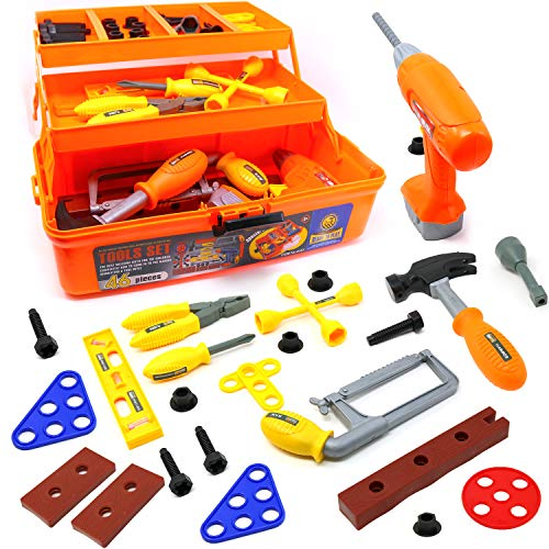 Big Mo's Toys Tool Box - Pretend Play Three Tier Educational Tool Kit for Kids Gift of All Ages - 46 Piece Set