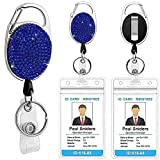 Uhada Retractable Badge Reel Clip, Glitter Badge Card Holder with Carabiner Clip, Key Ring, 24in Thick Kevlar Pull Cord for Nurse Doctor Teacher Student-Plastic Sleeve Pouch NOT Included (Dark Blue)
