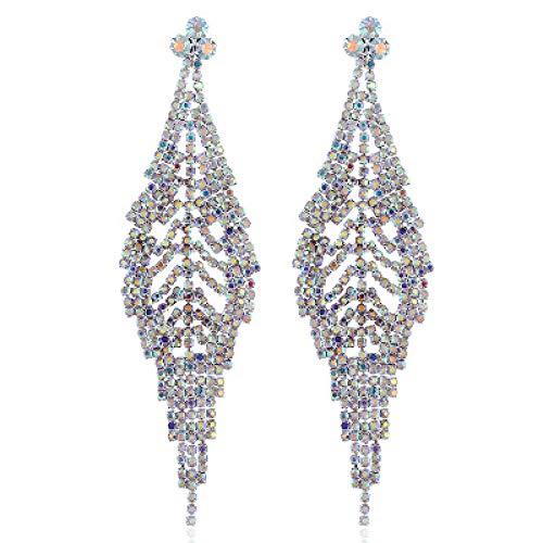 Jyuter12 Hollow Leaf Leaf Dangle Earrings Rhinestone Drop Earrings Wedding Party Jewelry Para Mujeres