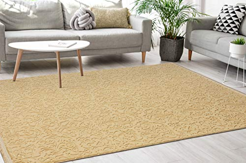 MIA´s Teppiche Lisa - Alfombra Moderna de Pelo Corto, Lavable, Efecto 3D, Parte Inferior Antideslizante, Color Dorado