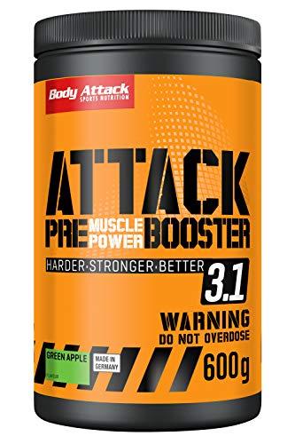 Body Attack PRE ATTACK 3.1, Pre Workout Booster Extreme mit Creatin und Beta Alanin, 600g Pulver, Green Apple