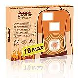 Supchamp Parches de Calor 10 piezas - Adhesivo Calentador Cuerpo para la Espalda, Hombros y Abdomen - 12 horas de Calor Acogedor 100% Natural
