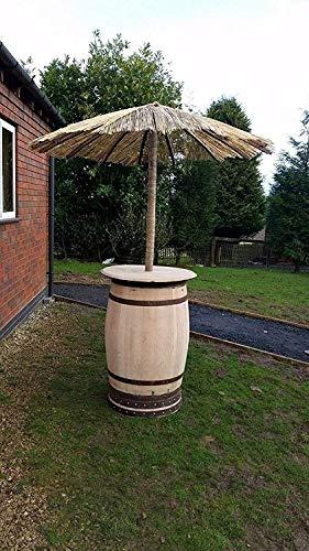 Gerecyclede eikenhouten whiskytafel met afneembare parasol in tropische stijl