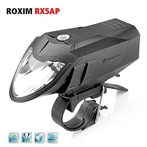 Roxim RX5A Premium LED fiets koplamp/fietslamp/fietslamp - 5x verlichtingsmodi + automatische lichtbesturing - StVZO goedgekeurd