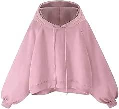 Aniywn Women's Girls Lantern Sleeve Hooded Sweatshirt Large Size Loose Drawstring Solid Hoodie Pullover Top