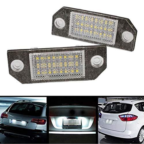GOFORJUMP 2pcs 12v Blanc 24 LED Lampe de lumière de Plaque d'immatriculation pour F/ord F/ocus C-Max MK2