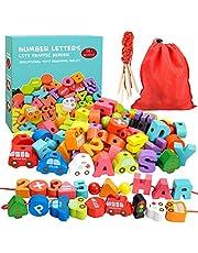 Appoft Jouets de Filetage en Bois Montessori préscolaire avec Animaux Fruits numéro Alphabet Perles de trafic pour Enfants en Bas âge - Meilleurs Cadeaux de Jouets