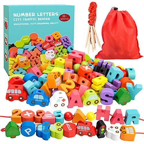 Appoft Juguetes preescolares Montessori de Madera para roscar con Animales, Frutas, números, Alfabeto, Cuentas de tráfico para niños pequeños, los Mejores Regalos de Juguete