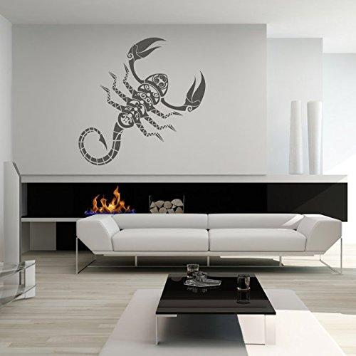 malango® Wandtattoo Sternzeichen Skorpion Wanddekoration Tier Zeichen Horoskop Tierkreiszeichen Wanddesign Tattoo Dekoration Design ca. 70 x 109 cm anthrazit