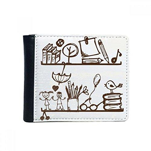 DIYthinker Multifunctionele tas voor kinderen om wakker te maken illustratie voor Mano Bookshelf Collegio Flip Bifold Faux Leather Wallet