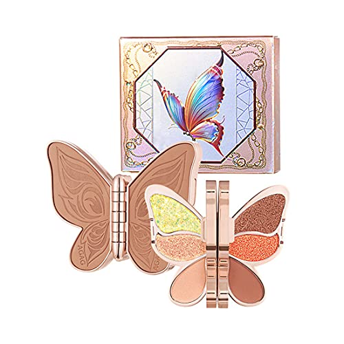 LQLQ 6 Colors Butterfly Eyeshadow Palette, Pearly Sequins Matte Makeup Palette