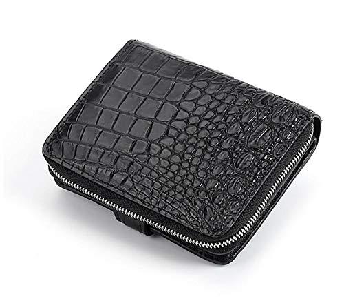 EEKUY portemonnee voor mannen, korte rits portemonnee krokodil lederen portemonnee gepersonaliseerde geschenken voor hem/echtgenoot/vader/zoon 4.72 X 3.94 X 1.2 Inch (zwart)