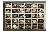MINERALES Y FOSILES NANO Colección de 30 Rocas Premium en Caja de Madera Natural - Rocas Reales educativas de Gran tamaño con Hoja de descripción. Kit Geología para niños