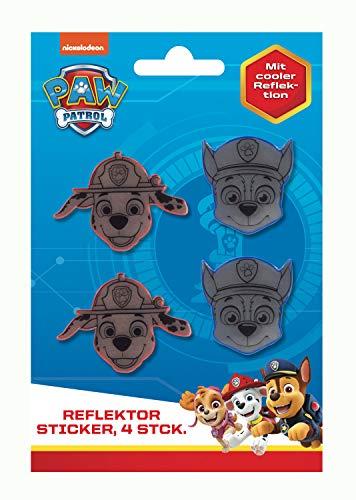 POS 31470 - Reflektierende Sticker im Paw Patrol Design, 4 Aufkleber in 2 Farben rot und blau, Größe je ca. 5 cm, zur besseren Sichtbarkeit für Fahrrad, Roller oder Ranzen, für Jungen und Mädchen