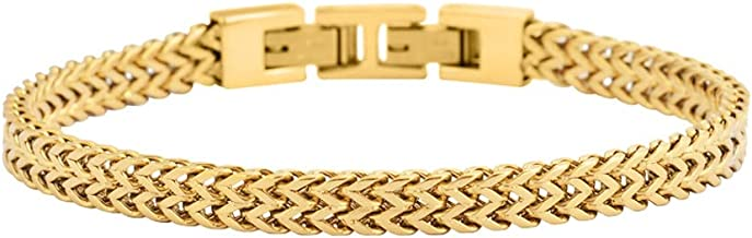 Geoffrey Beene Men's Stainless Steel Double Franco Chain Bracelet with Extension