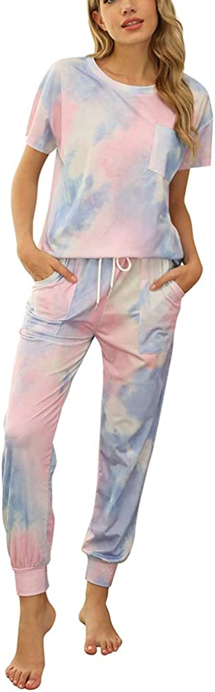 WUSENST Womens 2 Pieces Sports Outfit - Short Sleeve Bodycon Pants Set Tie Dye Casual Tracksuit