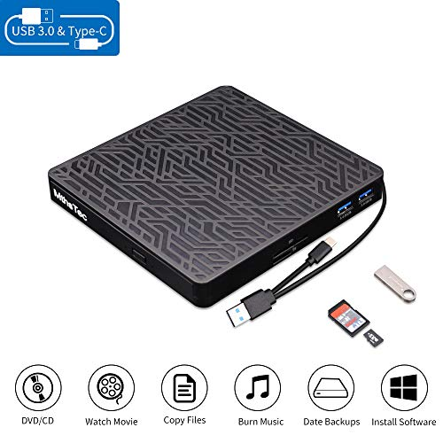 MthsTec External DVD CD Drive, 2-Port Hub USB 3.0 with Type-C SD/TF Card Reader CD/DVD Drive ROM Rewriter Burner for Laptop/MacBook/Desktop/Car Compatible with MacOS/Windows 10/8/7,Linux