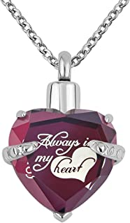 LoEnMe Jewelry Birthstone ~ Always in My Heart ~ Love Crystal Pendant Cremation Urn Necklace for Ashes Keepsake Memorial. ...