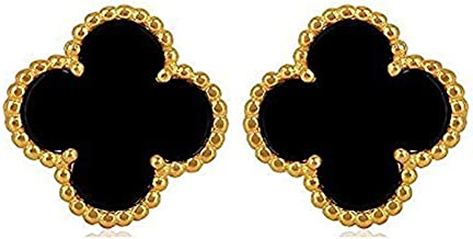KaiMap Women Fashion Gold Plated Four Leaf Van Cleef Stud Earrings, Designer Jewelry