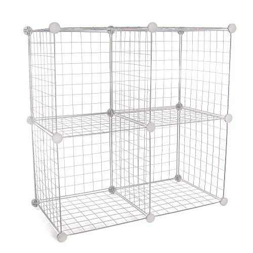 Estantes de almacenamiento de alambre de 4 cubos | Para organizar y guardar zapatos | Para guardarropas y organización de dormitorios | Pukkr (blanco)