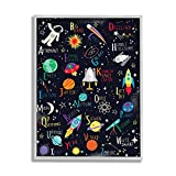 Stupell Industries Outer Space Fun Alphabet Kid s ABC Typography, Designed by Louise Allen Gray Framed Wall Art, Black