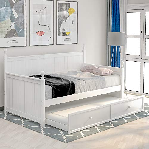 Twin Wooden Daybed with Trundle Set,Platform Bed Frame with Wood Slats Support,Space-Saving Sofa Bed for Bedroom Living Room, No Box Spring Needed (1White (with Trundle))